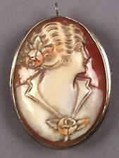 Antique Victorian 14K Solid Gold Hand Carved Shell Cameo Pendant Brooch