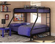 Twin over Full Bunk Beds Metal Bunkbeds Kids Teens Dorm Bedroom Furniture Black