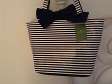 $275 AUTH KATE SPADE OCEAN DRiVE TRACY Bow BLaCK STRiPE PURSE Sold Out New