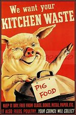 Pig Food WPA Vintage Poster Art Print Winking  Pig We Want Your Kitchen Waste