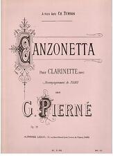 Gabriel Pierné: Canzonetta per Clarinetto Accompagnato dal Pianoforte - Leduc