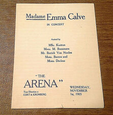 Rare 1905 Madame Emma Calve In Concert at The Montreal Arena Program, Westmount