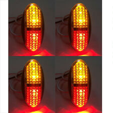 10pcs Red Amber 12V 4 LED Side Front Marker Indicators Lights Lamp Truck Trailer
