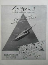 3/1958 PUB SNCAN CHASSEUR GRIFFON II TURBO STATO PROTOTYPE ARMEE AIR FRENCH AD
