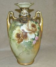 "10"" TALL NIPPON FLORAL YELLOW ROSE VASE RAISED GOLD TRIM"