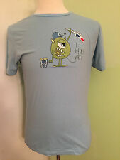 Threadless Prank for Cyclops Short Sleeve Light Blue T Shirt 100% Cotton Size M