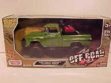OFF ROAD 1958 CHEVROLET APACHE Pickup Truck Die-cast 1:24 Motormax 8 inch Green