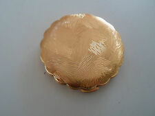 Vintage Pretty Gold Tone Textured Pattern Good Retro Power Compact+Mirror