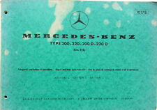1970 MERCEDES 200 200 D 220 220 D BM 115 CATALOGUE DE PIECES DETACHEES N°10178