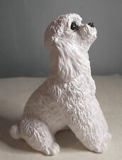Authentic Stone Critter White  Poodle Figurine  4""