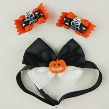 Pet Dog Pumpkin Skull Halloween Accessories 2x Hair Bow + 1x Collar Bow Tie /Set