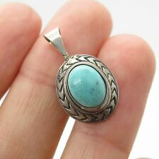 Vtg 925 Sterling Silver Real Turquoise Gemstone Small Pendant