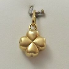18K Yellow Gold 3d Puffy Lucky in Love 4 Four Leaf Clover Charm Pendant 1.9gr