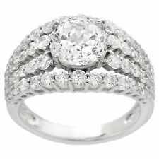 """NEW"" DIAMONIQUE EPIPHANY 100 FACET MULTI-ROW STERLING SILVER RING  ""SIZE: 10"""