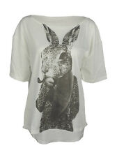 Smoking hare print top shirt womens ladies oversized tshirt rabbit
