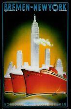 Blechschild Norddeutscher Lloyd Bremen New York rote Dampfer Schiff Schild 20x30