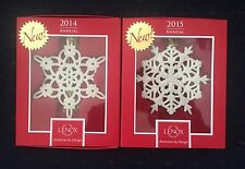 Lenox 2014 2015 Annual Snow Fantasies Snowflake Ornaments New In Box 1st Quality