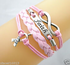 "LOTS of 10pcs Infinity/Faith/Cancer Ribbon With ""Hope"" Leather Braided Bracelet"