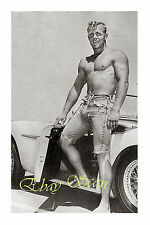 VINTAGE 1950's PHOTO MUSCULAR NEAR NUDE MAN SHOWS BULGE BY CAR GAY INTEREST 101