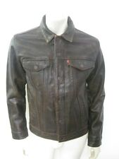 Levi's Buffalo Brown Leather Trucker Jacket Size MEDIUM