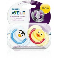 Philips Avent SCF182/33 2-Pack Orthodontic Soother 0-6m Penguin/Duck Design