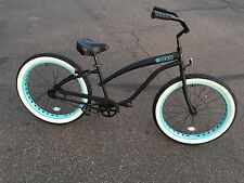 Fat Tire Beach Cruiser Bike- 26X3 Whitewall Wide Tires- SIKK- Teal Wheels