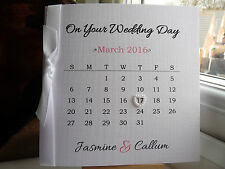 Personalised Wedding Day Engagement Anniversary Calendar Card Modern Handmade