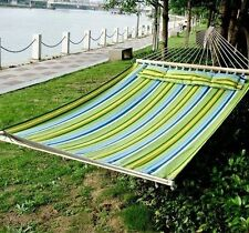 Outdoor New Blue Green Hammock Cotton Sleeping Bed Camping Double Size w/Pi