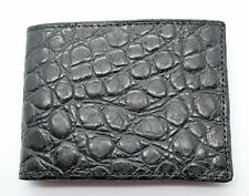 Distressed Black Crocodile Print Genuine Leather Men's Wallet MADE IN THE USA