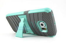 FOR SAMSUNG GALAXY S6 EDGE GREY TURQUOISE EXO STRETCH RUGGED HYBRID CASE COVER
