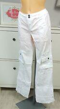ESPRIT Hose Stoffhose Sommerhose Cargohose Taschen Weiß White Gr. 36 S (A99)