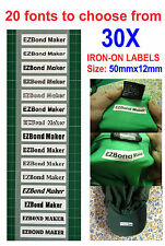 30x Iron-On Name Labels Tags Printed For Child Care, School, Nursing Home,