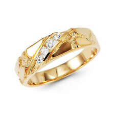 14K Yellow Gold Mens Round Nugget Wedding Ring Band Man Made Diamond