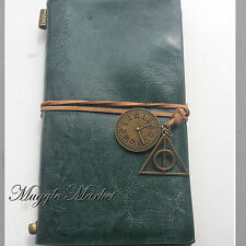 Green diary Journal deathly hallows charm design hermione Book Hogwarts Harry