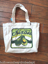 NIXON market bag purse AVACADO raw food vegan fruit farmer cotton tote shopping