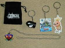 LOT 4 OFFICIAL NINTENDO PROMO ZELDA MARIO KART POKEMON KEYRING NECKLACE NEW Rare