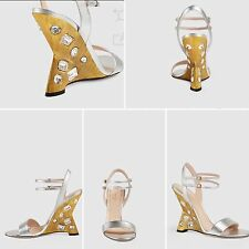 Gucci Engel Metallic Wedge Leather Sandals  Size 9.5