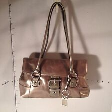 Giani Bernini Glazed Golden Brown Leather Shoulder Handbag Bag Satchel Key Chain