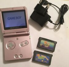 PINK NINTENDO GAME BOY ADVANCE SP +2 GAMES BUNDLE SPONGEBOB SUPERSPONGE & MOVIE