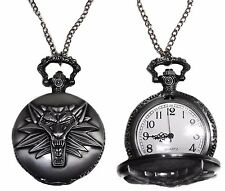 Witcher 3 Wild Hunt Wolf Head Onyx Finish Pendant Pocket Watch