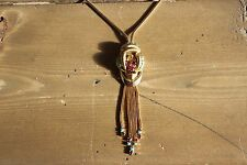 Vintage Gold Plated Tassel Dangle Rhinestone Necklace 18 inch