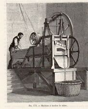 INDUSTRIE MACHINE HACHER TABAC IMAGE 1875 INDUSTRY TOBACCO MACHINE OLD PRINT
