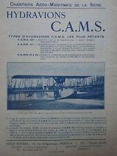 6/1928 PUB CAMS SEINE SARTROUVILLE HYDRAVION ECOLE CAMS-46 AMPHIBIE ORIGINAL AD