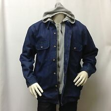 NWT Men's Jeans Hooded Jacket Blue Denim Double Layer Hoodie Button 2XLARGE 2XL