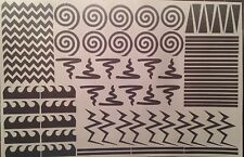 Variety Sheet -  84 Nail Vinyls Per Sheet!  Chevron Spiral Cyclone Stripes Waves