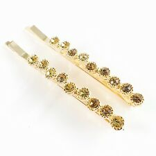 USA Bobby Pin Rhinestone Crystal Hair Clip Hairpin Jeweled Gold Brown B05
