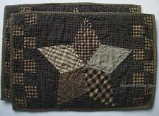 Country Primitive Patchwork Star Quilted Cotton Placemats..Set of 2 Black & Tan