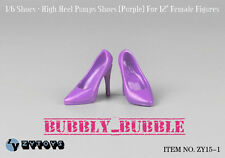 "1/6 Female High Heel Pumps Shoes PURPLE For Hot Toys 12"" Figures SHIP FROM USA"