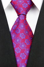 PRICED TO CLEAR! Mens Classic Floral Jacquard Silk Necktie Tie Red