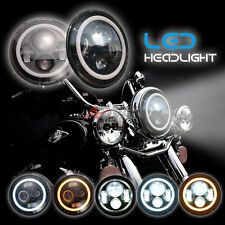 "7"" LED Headlight Head Angel Light for Harley Davidson Road King Softail FLD"
